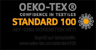 Schadstoffgeprüft nach Öko-Tex Standard 100 zertifiziert - Prüfnummer A97-0385